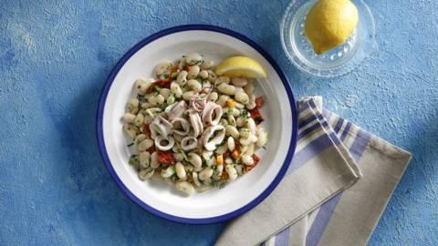 Θράψαλο με σαλάτα φασόλια